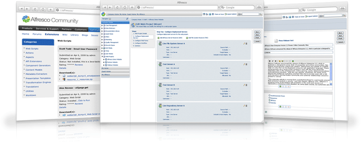 Screenshots of 3 different features of Alfresco Document Management.
